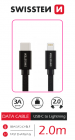 DATOVÝ KABEL SWISSTEN TEXTILE USB-C / LIGHTNING 2,0 M ČERNÝ