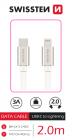 DATOVÝ KABEL SWISSTEN TEXTILE USB-C / LIGHTNING 2,0 M STŘÍBRNÝ