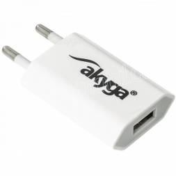 Akyga Síťová USB nabíječka 240V 1000mA 1xUSB bílá
