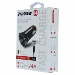 SWISSTEN CL ADAPTÉR 2,4A POWER 2x USB + KABEL USB-C