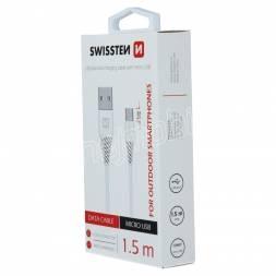 DATOVÝ KABEL SWISSTEN USB / MICRO USB 1,5 M BÍLÝ (9mm)