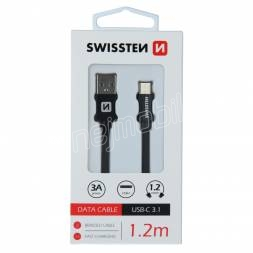 DATOVÝ KABEL SWISSTEN TEXTILE USB / USB-C 1,2 M ČERNÝ