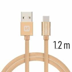 DATOVÝ KABEL SWISSTEN TEXTILE USB / USB-C 1,2 M ZLATÝ