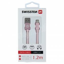 DATOVÝ KABEL SWISSTEN TEXTILE USB / USB-C 1,2 M RŮŽOVO/ZLATÝ