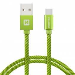 DATOVÝ KABEL SWISSTEN TEXTILE USB / USB-C 1,2 M ZELENÝ