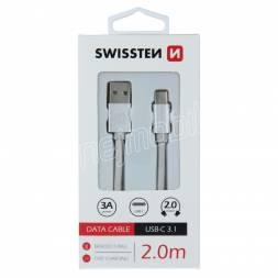 DATOVÝ KABEL SWISSTEN TEXTILE USB / USB-C 2,0 M STŘÍBRNÝ