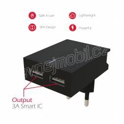 SWISSTEN SÍŤOVÝ ADAPTÉR SMART IC 2x USB 3A POWER ČERNÝ