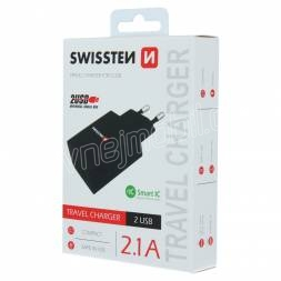SWISSTEN SÍŤOVÝ ADAPTÉR SMART IC 2x USB 2,1A POWER ČERNÝ