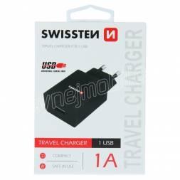 SWISSTEN SÍŤOVÝ ADAPTÉR SMART IC 1x USB 1A POWER ČERNÝ