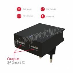 SWISSTEN SÍŤOVÝ ADAPTÉR SMART IC 2x USB 3A POWER + DATOVÝ KABEL USB / TYPE C 1,2 M ČERNÝ