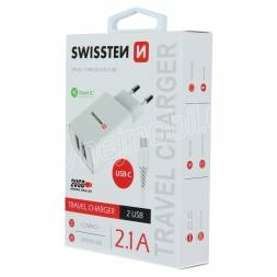 SWISSTEN SÍŤOVÝ ADAPTÉR SMART IC 2x USB 2,1A POWER + DATOVÝ KABEL USB / TYPE C 1,2 M BÍLÝ