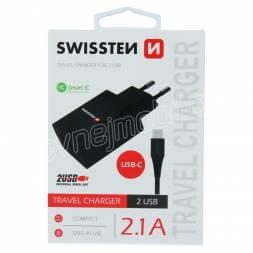 SWISSTEN SÍŤOVÝ ADAPTÉR SMART IC 2x USB 2,1A POWER + DATOVÝ KABEL USB / TYPE C 1,2 M ČERNÝ