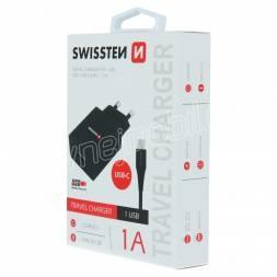 SWISSTEN SÍŤOVÝ ADAPTÉR SMART IC 1x USB 1A POWER + DATOVÝ KABEL USB / TYPE C 1,2 M ČERNÝ