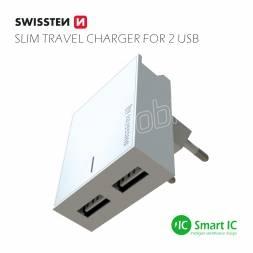 SWISSTEN SÍŤOVÝ ADAPTÉR SMART IC 2x USB 3A POWER BÍLÝ
