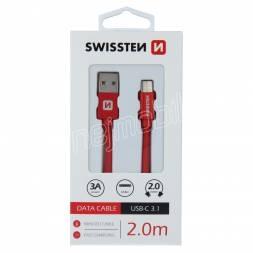DATOVÝ KABEL SWISSTEN TEXTILE USB / USB-C 2,0 M ČERVENÝ