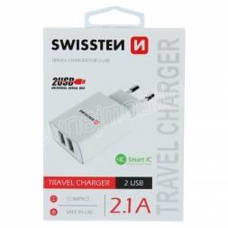 SWISSTEN SÍŤOVÝ ADAPTÉR SMART IC 2x USB 2,1A POWER BÍLÝ