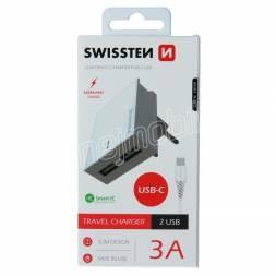 SWISSTEN SÍŤOVÝ ADAPTÉR SMART IC 2x USB 3A POWER + DATOVÝ KABEL USB / TYPE C 1,2 M BÍLÝ