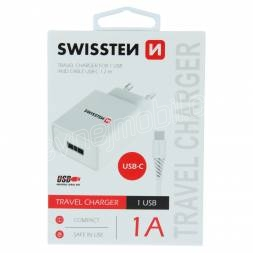 SWISSTEN SÍŤOVÝ ADAPTÉR SMART IC 1x USB 1A POWER + DATOVÝ KABEL USB / TYPE C 1,2 M BÍLÝ