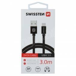 DATOVÝ KABEL SWISSTEN TEXTILE USB / USB-C 3,0 M ČERNÝ
