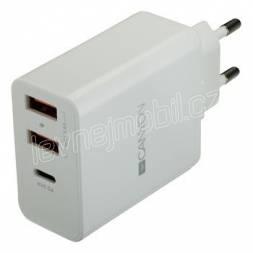 CANYON Nabíjčka do sítě H-08, Power delivery - 1x USB-C (Quick charge), 2xUSB A, bílá