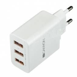 CANYON Univerzální 3xUSB nabíječka do sítě s ochranou proti přepětí, Input 100V-240V, Output 5V-4.2A, bílá