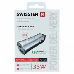 SWISSTEN CL ADAPTÉR POWER DELIVERY USB-C + QUICK CHARGE 3.0 36W METAL STŘÍBRNÝ