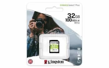 Kingston paměťová karta 32GB Canvas Select Plus SD UHS-I (čtení/zápis: 100/85MB/s)