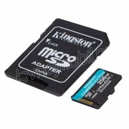 Kingston paměťová karta 256GB microSDXC Canvas Go Plus 170R A2 U3 V30 Card + ADP