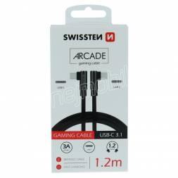 TEXTILNÍ DATOVÝ KABEL SWISSTEN ARCADE USB-C / USB-C 1,2 M ČERNÝ
