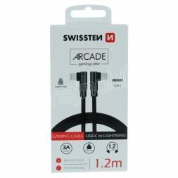 TEXTILNÍ DATOVÝ KABEL SWISSTEN ARCADE USB-C / LIGHTNING 1,2 M ČERNÝ