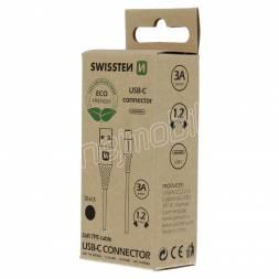 DATOVÝ KABEL SWISSTEN USB/USB-C ČERNÝ 1,2M  (ECO BALENÍ)
