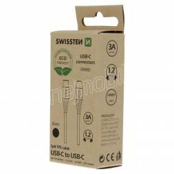 DATOVÝ KABEL SWISSTEN USB-C/USB-C ČERNÝ 1,2M  (ECO BALENÍ)