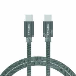 DATOVÝ KABEL SWISSTEN TEXTILE USB-C / USB-C 2,0 M STŘÍBRNÝ